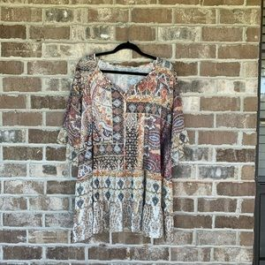 Avenue Boho Printed Ruffle Top Size 26/28